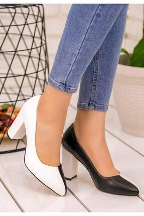 Erbilden Kadın Siyah  Beyaz Dena Topuklu Ayakkabı