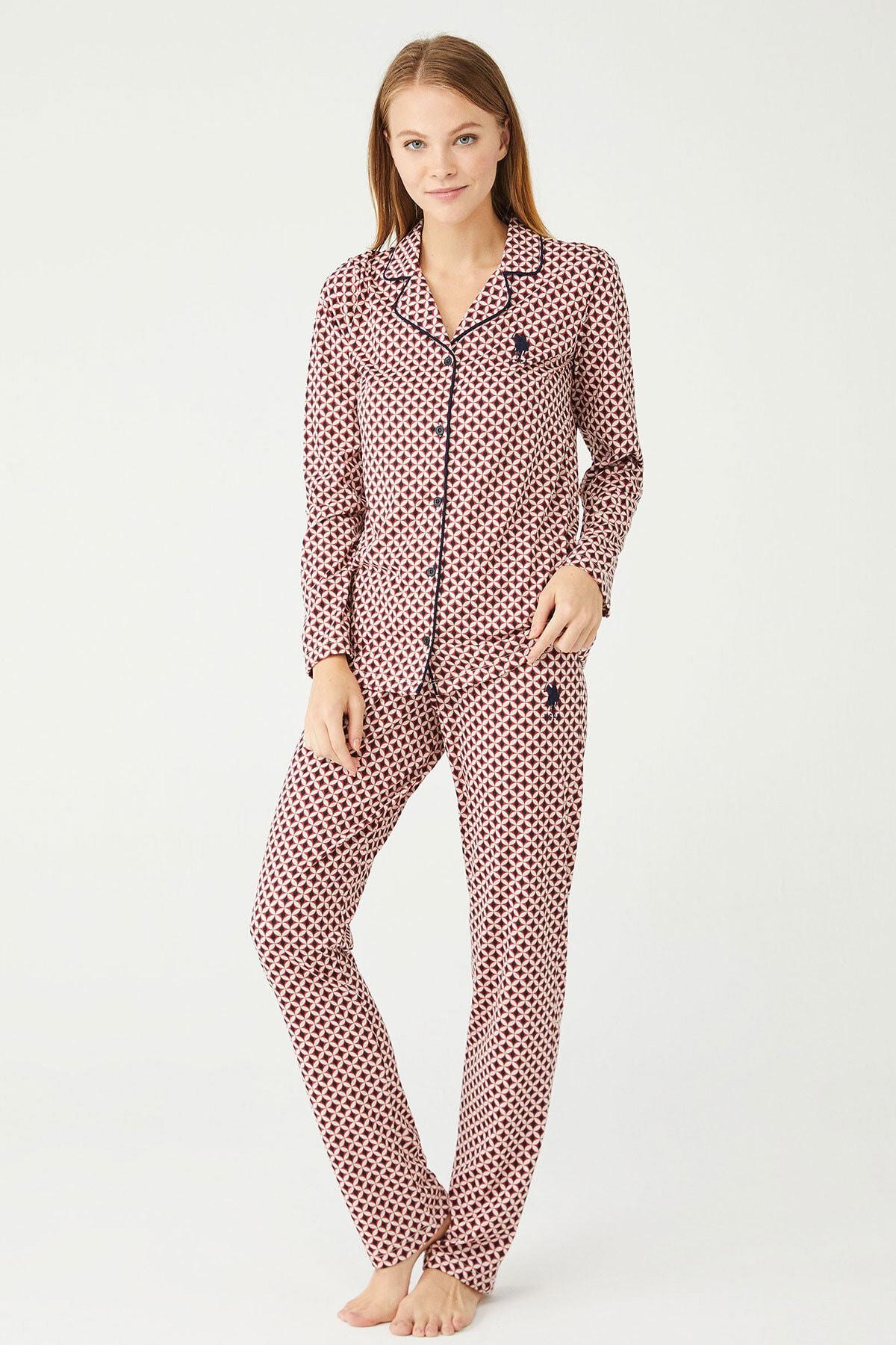 U.S POLO Kadın Lacivert Boydan Patlı Pijama Takım 1