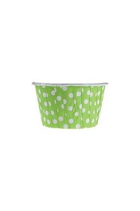 Bizim Mutfak Kağıt Muffin Kek Kapsülü Shrinkli 50 Li Yeşil Puantiyeli