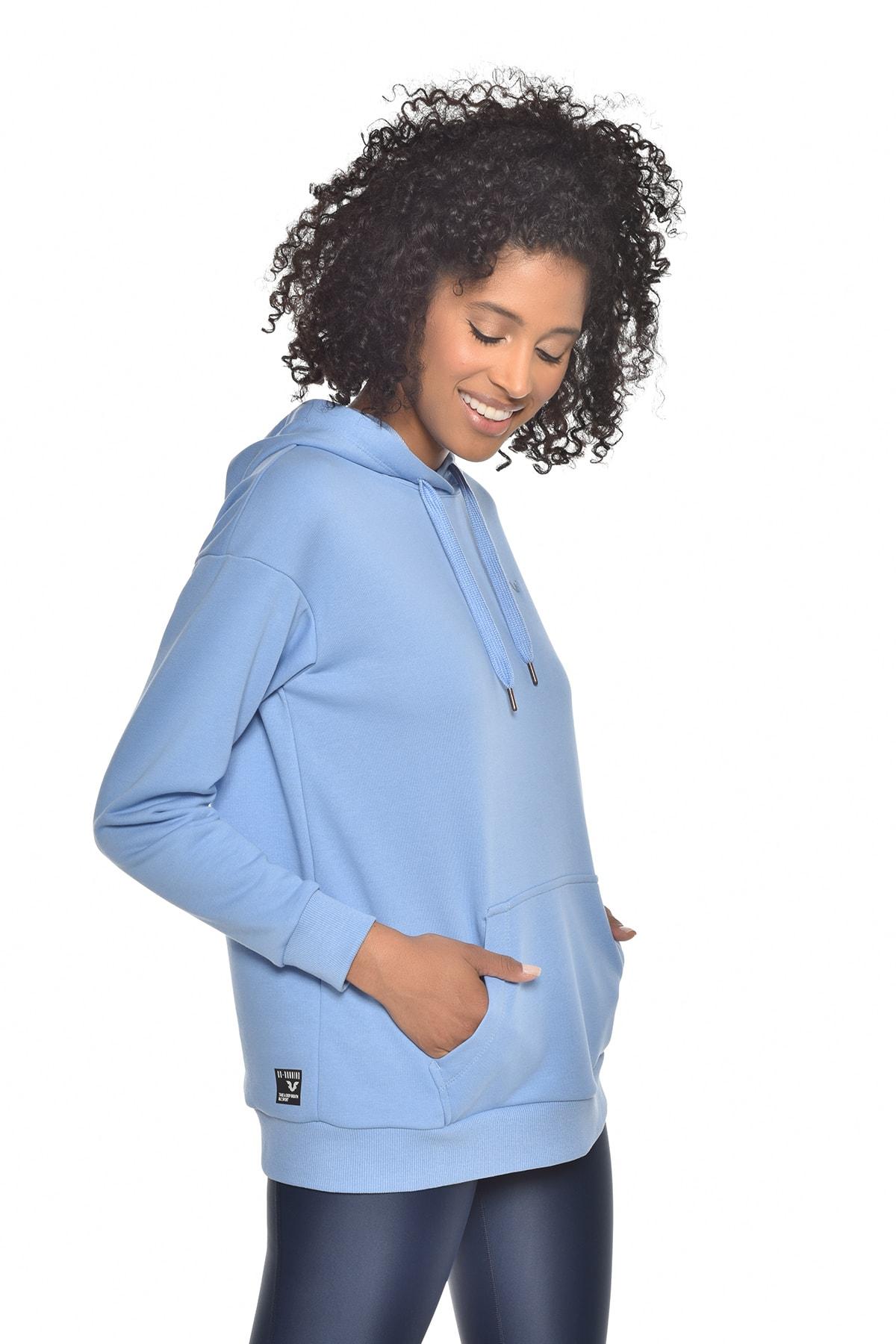 bilcee Mavi Kadın Kapüşonlu Sweatshırt GW-8785 2