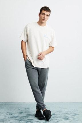 GRIMELANGE ZANE Erkek Ekru Önü Baskılı Kısa Kollu Oversize T-Shirt