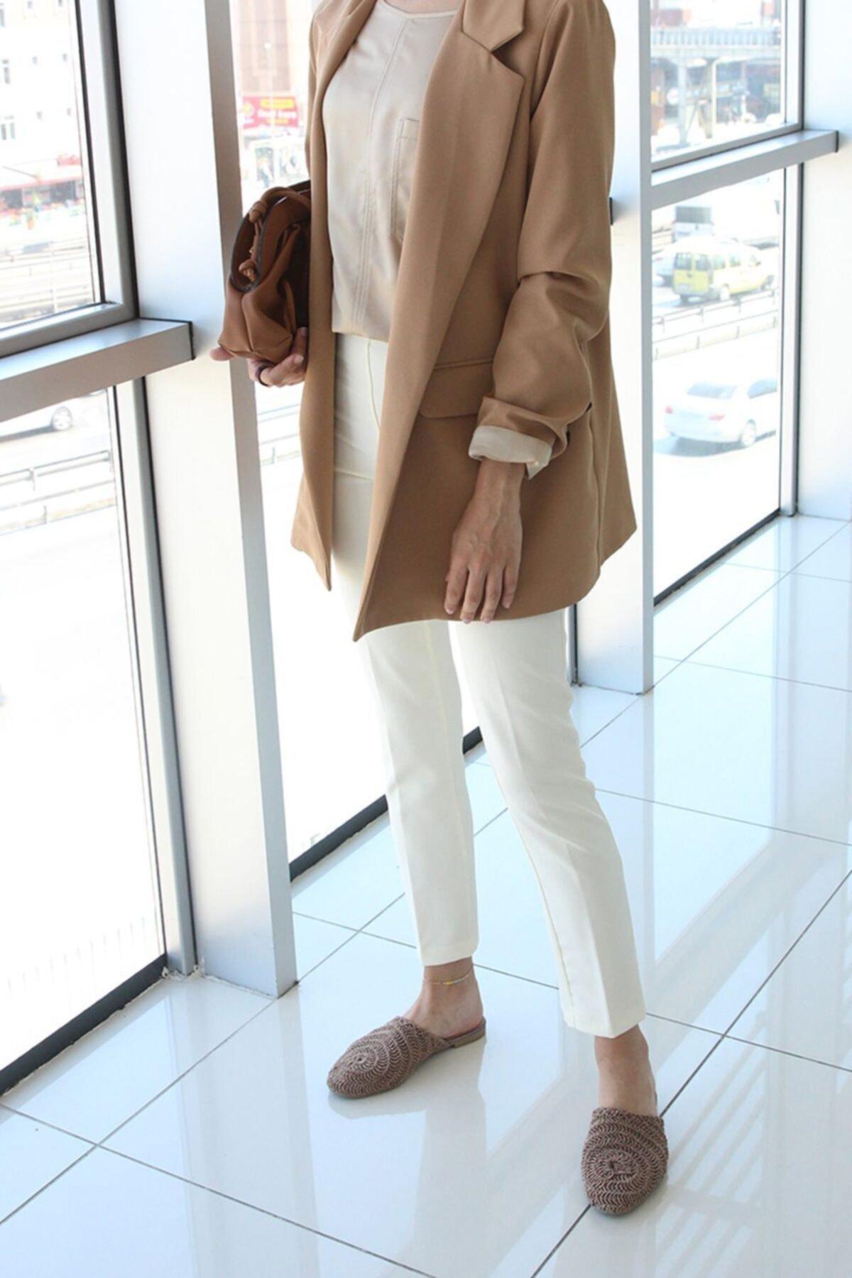 ALLDAY Kadın Ekru Fermuarlı Pantolon 2