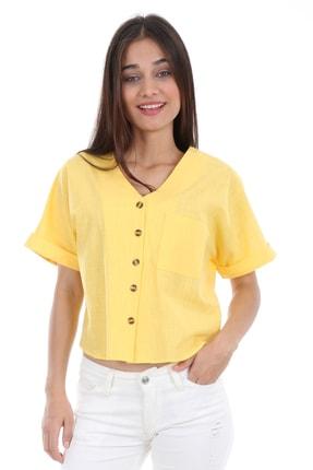 Bigdart Kadın Sarı Tek Cep Düğmeli Kısa Kol Bluz 0358