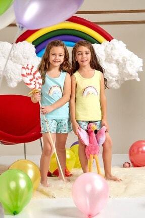 Lohusa Sepeti Kız Çocuk Sarı Gökkuşağı Şort Takımı 0063 Yaş 3-9