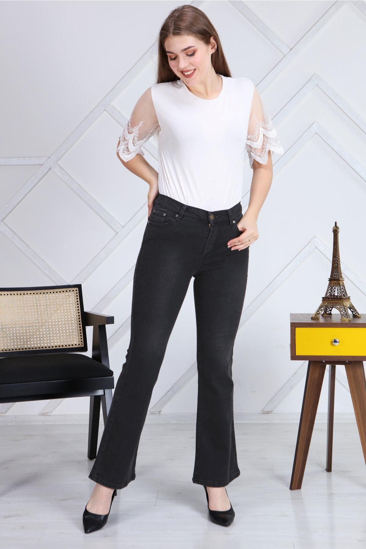 Gül Moda Antrasit Ispanyol Paça Likralı Yüksek Bel Kot Pantolon Jeans G00ipsi 2