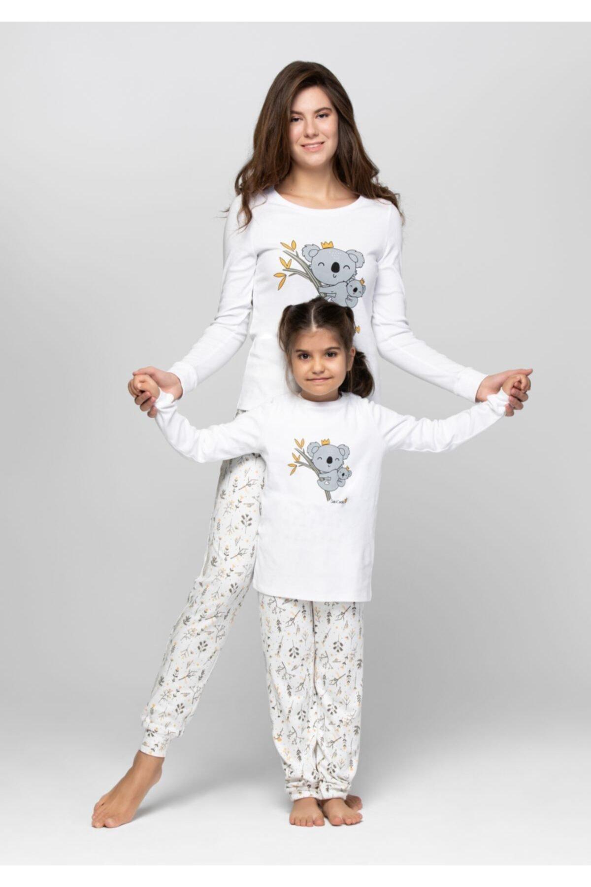 JUST BASIC Anne Kız Ekru Koala Pijama Takımı 2