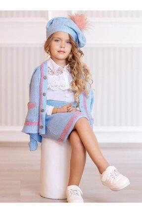 Riccotarz Kız Çocuk Pembe Şeritli Mavi Etekli Takım