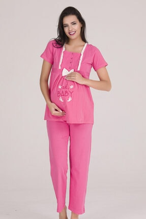 Sevil Giyim Kadın Pembe 4 Düğmeli Fiyonklu Nakışlı Hamile Pijama Takımı