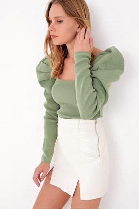 Trend Alaçatı Stili Kadın Çağla Yeşili Kare Yaka Prenses Kol Triko Kazak ALC-X5056
