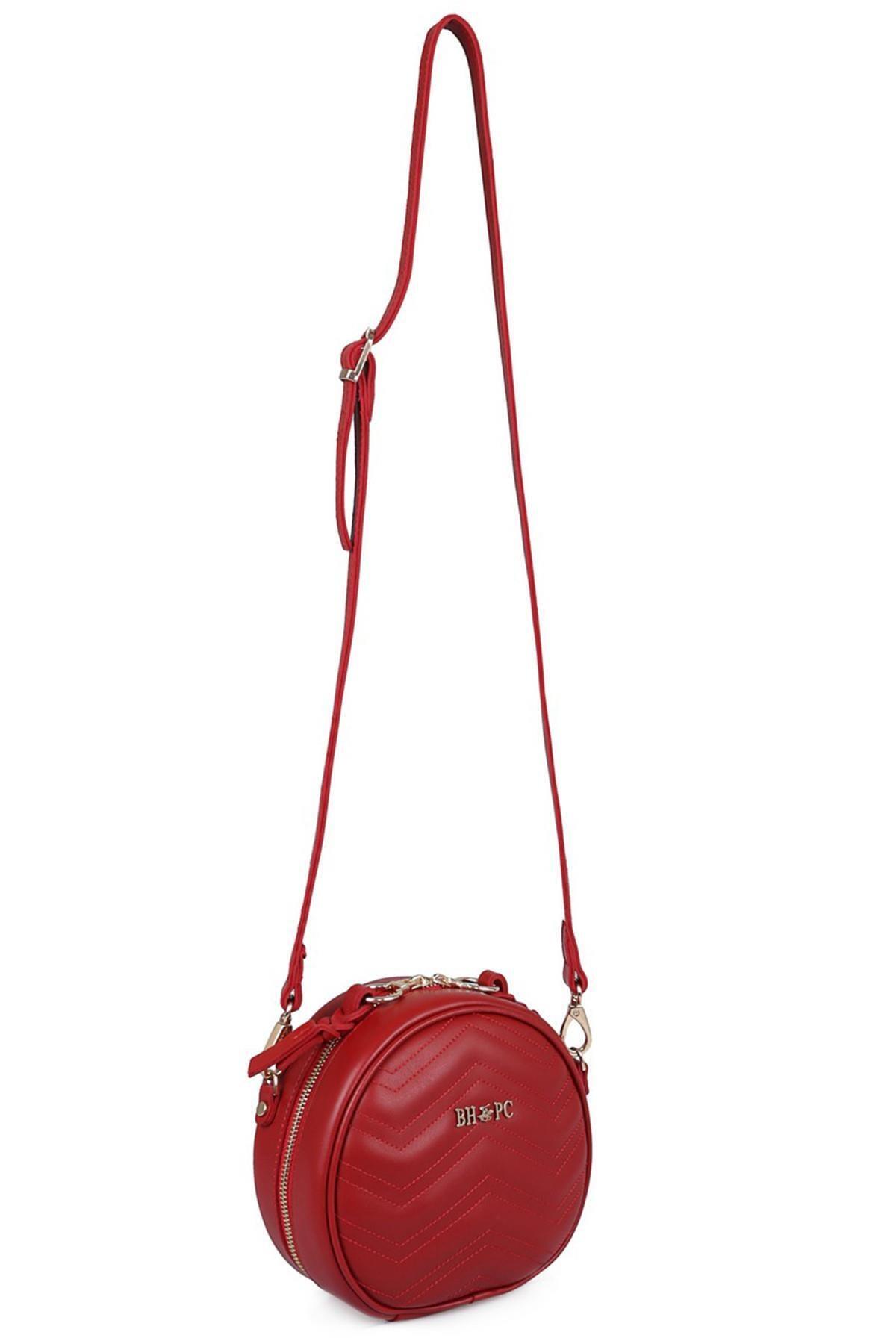 Beverly Hills Polo Club Kadın Zikzaklı Yuvarlak Bel Çantası Kırmızı 2