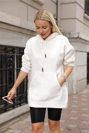 Oblavion Kadın Beyaz Yan Yırtmaçlı Cepli Kapüşonlu Sweatshirt