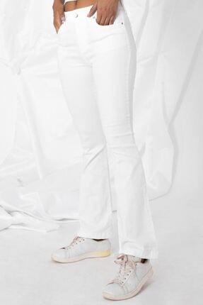Zafoni Kadın Beyaz Kot Pantolon