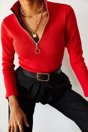 XENA Kadın Kırmızı Kaşkorse Fermuarlı Bluz 0YZK8-10566-04