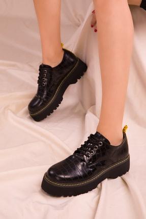 SOHO Siyah Kroko Kadın Casual Ayakkabı 15609