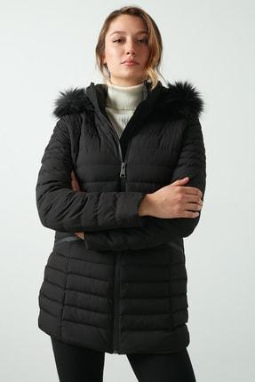 Lela Kadın Yakası Suni Kürklü Çıkarılabilir Kapüşonlu Şişme Kaban 497kylıe21