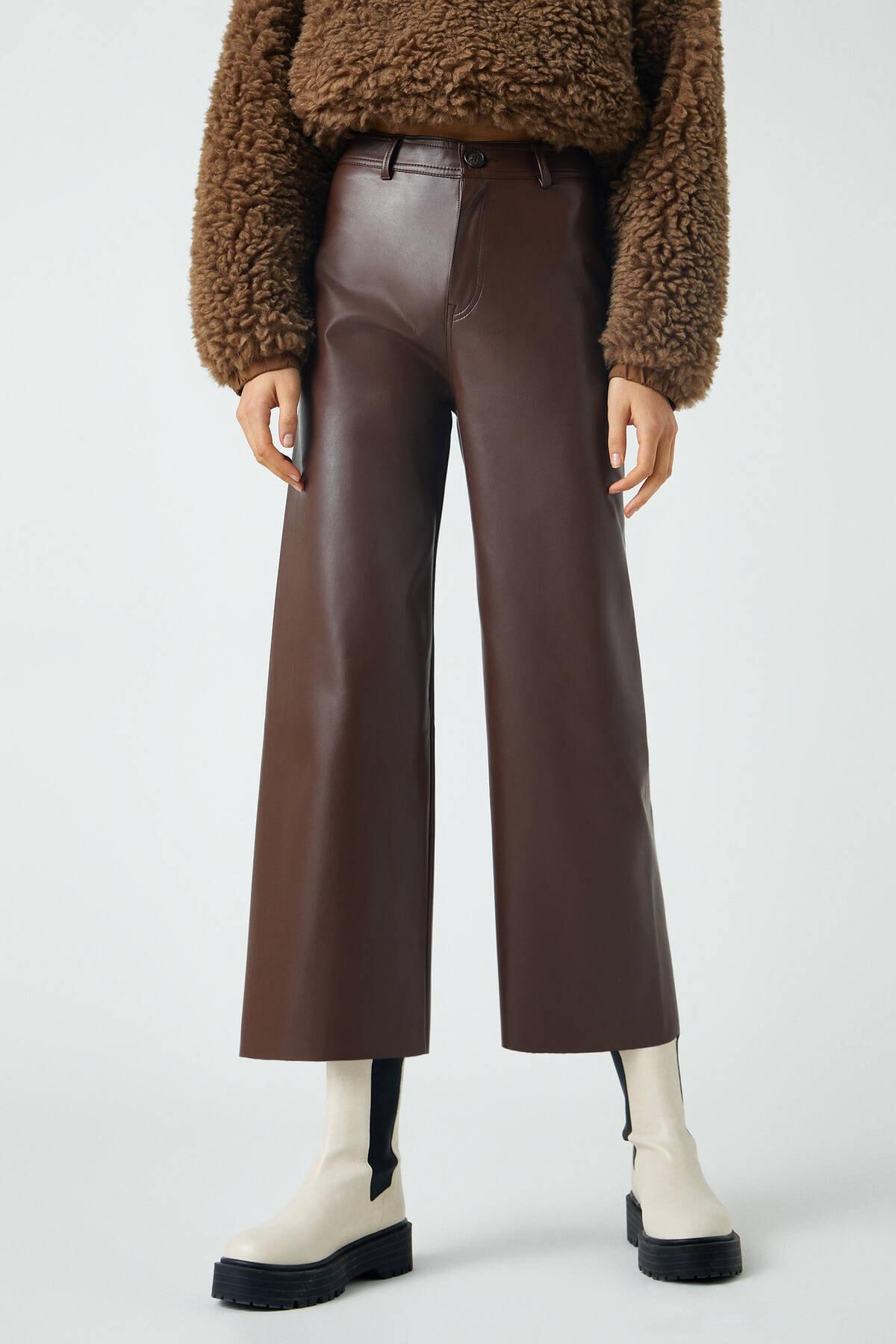 Pull & Bear Kadın Kahverengi Suni Deri Yüksek Bel Pantolon 09672329 2