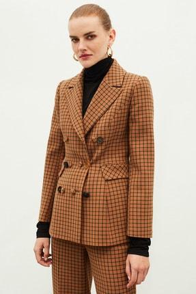 İpekyol Kadın Kahverengi Ekose Desen Ceket IW6200005078