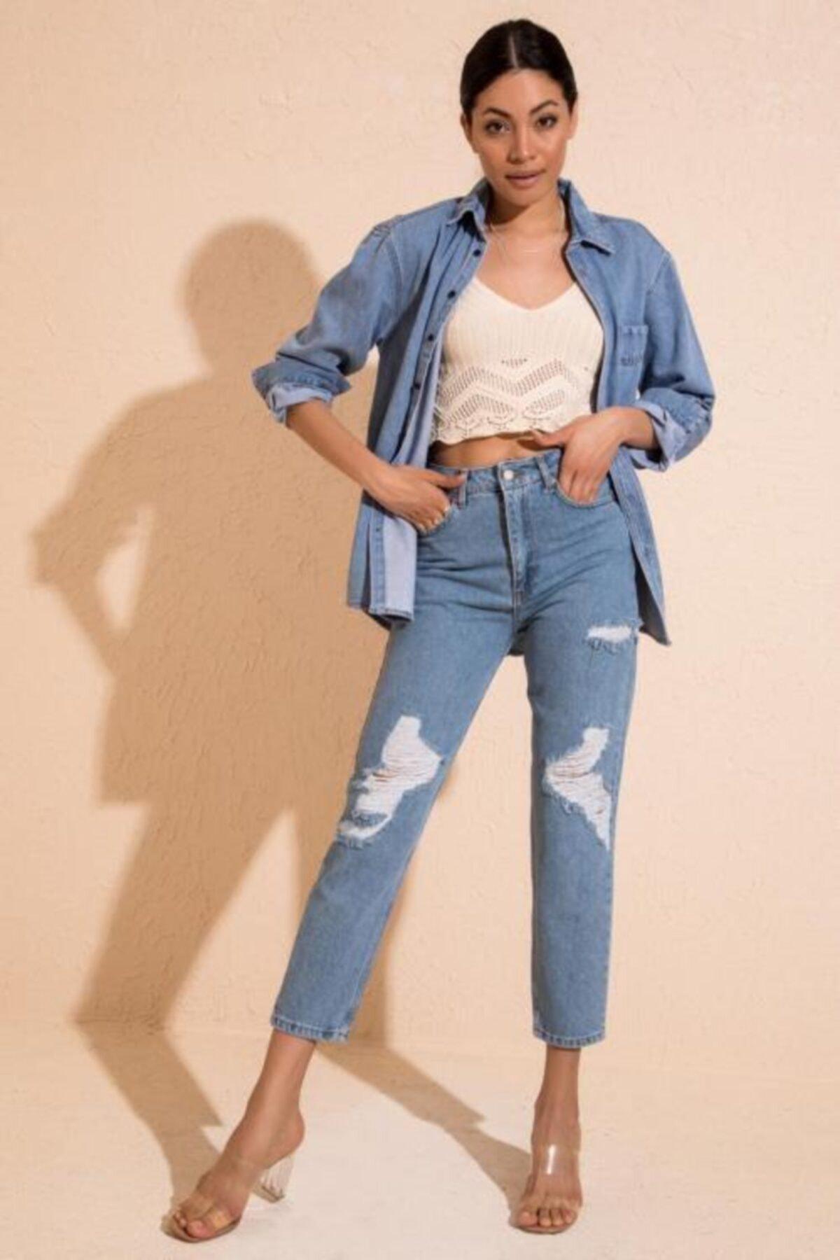 BSL Kadın Açık Mavi Beş Cep Yıpratmalı Denim Pantolon 1
