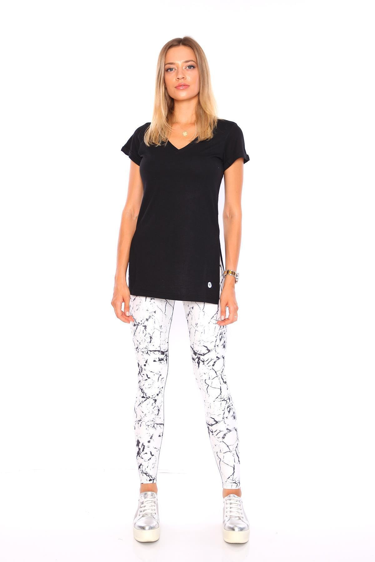 Superstacy Kadın Siyah V Yaka Yırtmaçlı Tunik Kadın Tshirt 2