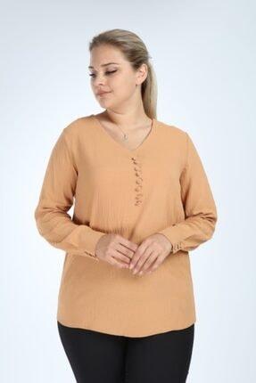 Lir Kadın Vizon Büyük Beden Uzun Kol Düğmeli Bluz