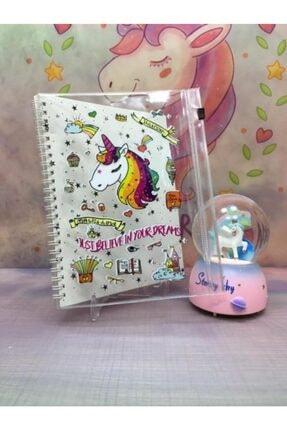 Anadolu Galaxy Unicorn Renk Değiştiren Işıklı Müzikli Kar Küresi Ve Unicorn Tasarımlı Dosyalı Defter