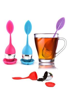 indirimdepo Asorti Silikon Paslanmaz Çelik Yaprak Çay Süzgeci Çay Kaşığı Demlik Topu Bitki Çayı Filtresi