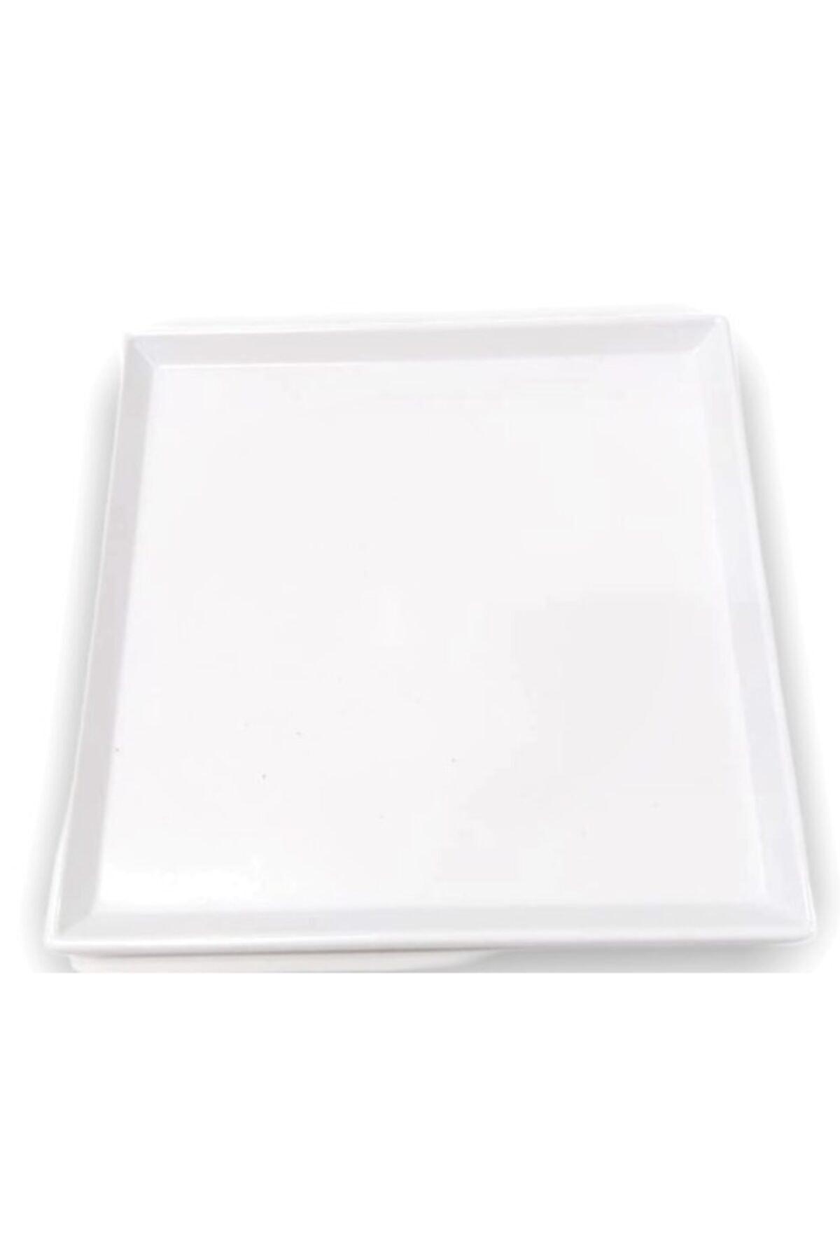 Evren 20x20cm Beyaz Sunum Tabağı Thermo Melamin 1