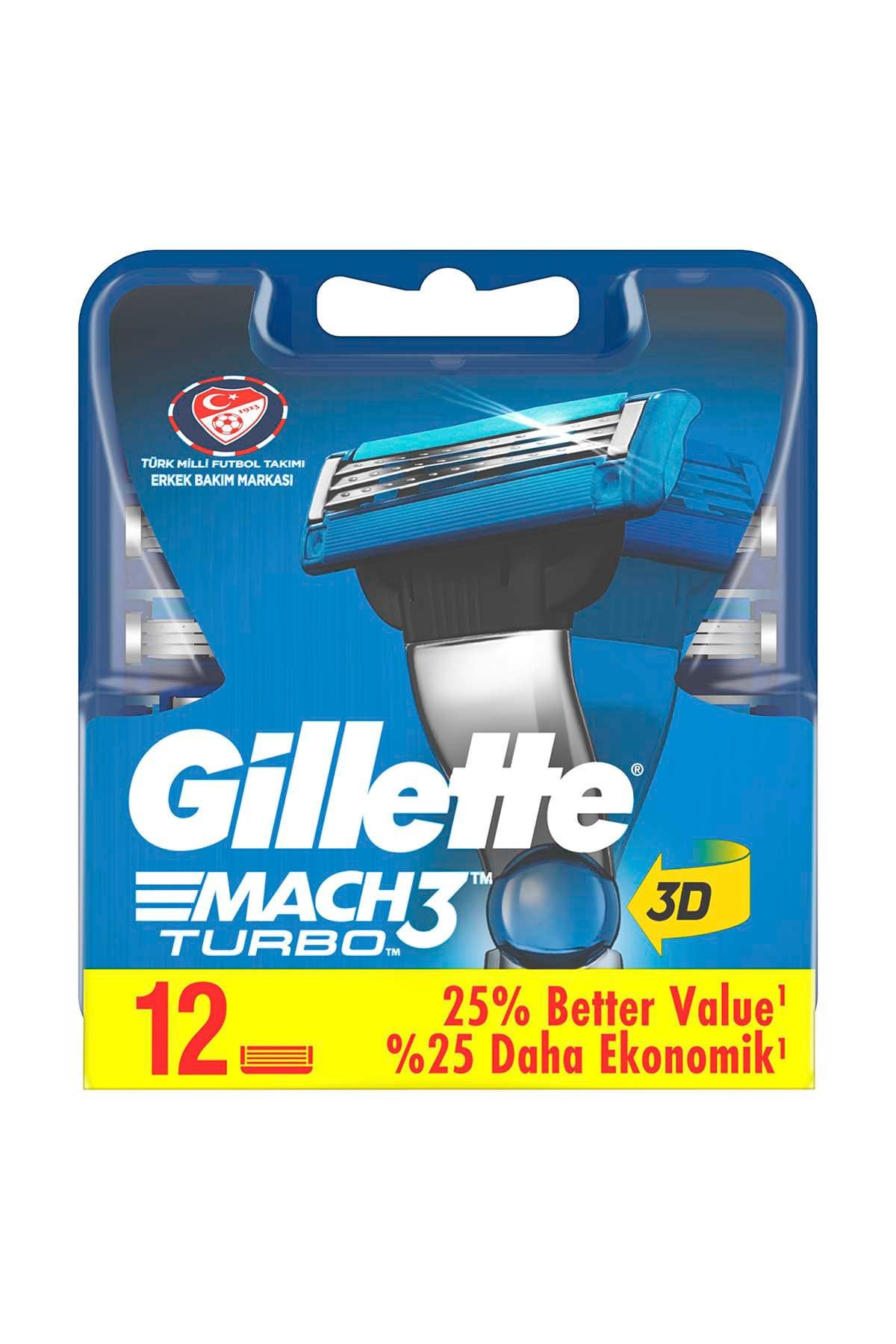 Gillette Mach3 Turbo Yedek Tıraş Bıçağı 12'li 2
