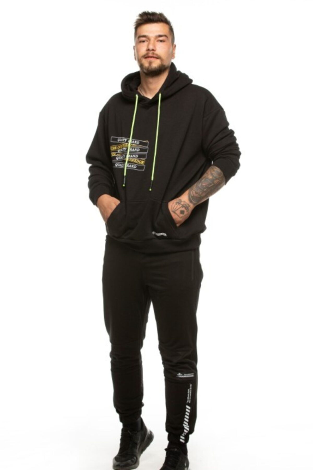 TUMBREL Unisex Siyah Oversize Baskılı Sweatshirt 2
