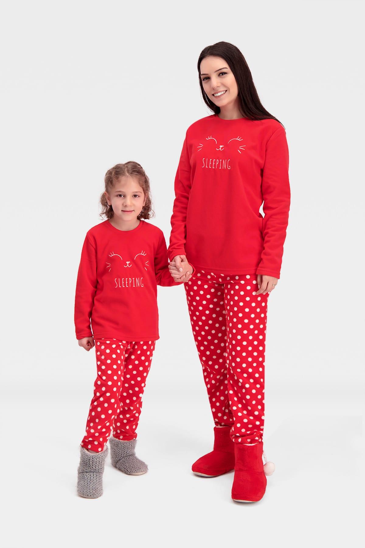 ROLY POLY Sleeping Bunny Polar Kadın Pijama Takımı Kırmızı 2