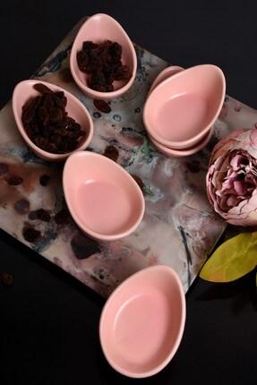 Keramika Açık Pembe Mini Gondol Çerezlik / Sosluk 8 Cm 6 Adet