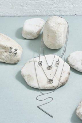 ZİNDİ Kadın Küpe Takımlı Çoklu Karma Kolye Gümüş Rengi K-3051036-040