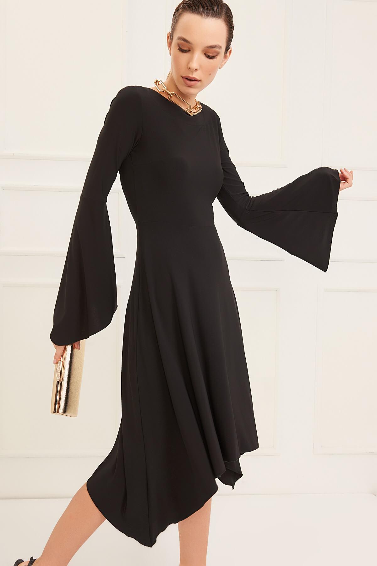 Laranor Kadın Siyah Asimetrik Kesim Elbise 19L6477 2