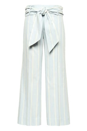 Banana Republic Kadın Açık Mavi Logan Trouser-Fit Keten Ve Pamuk Karışımlı Pantolon 333633