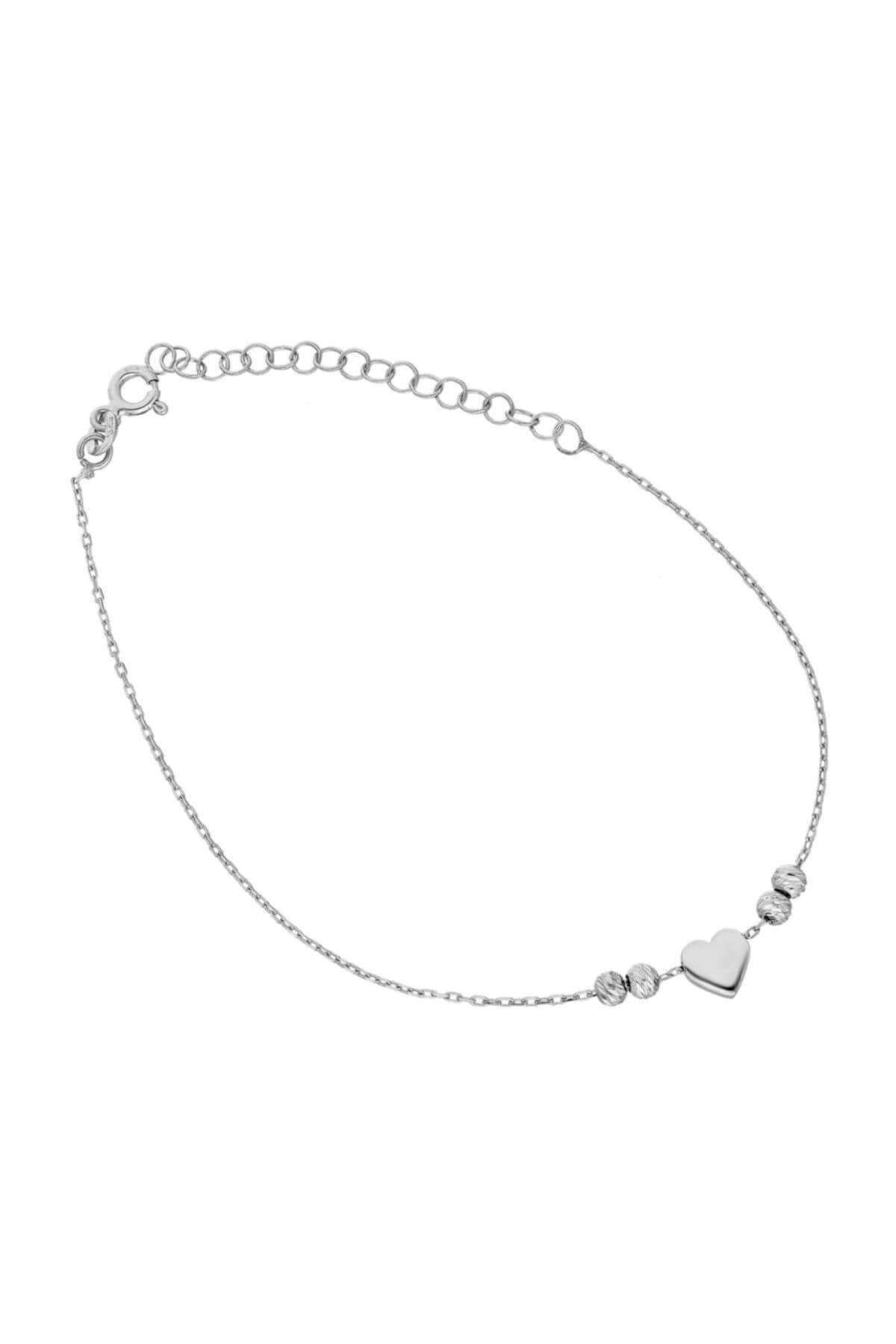 Glorria Kadın Gümüş Kalp Halhal DT0541 1