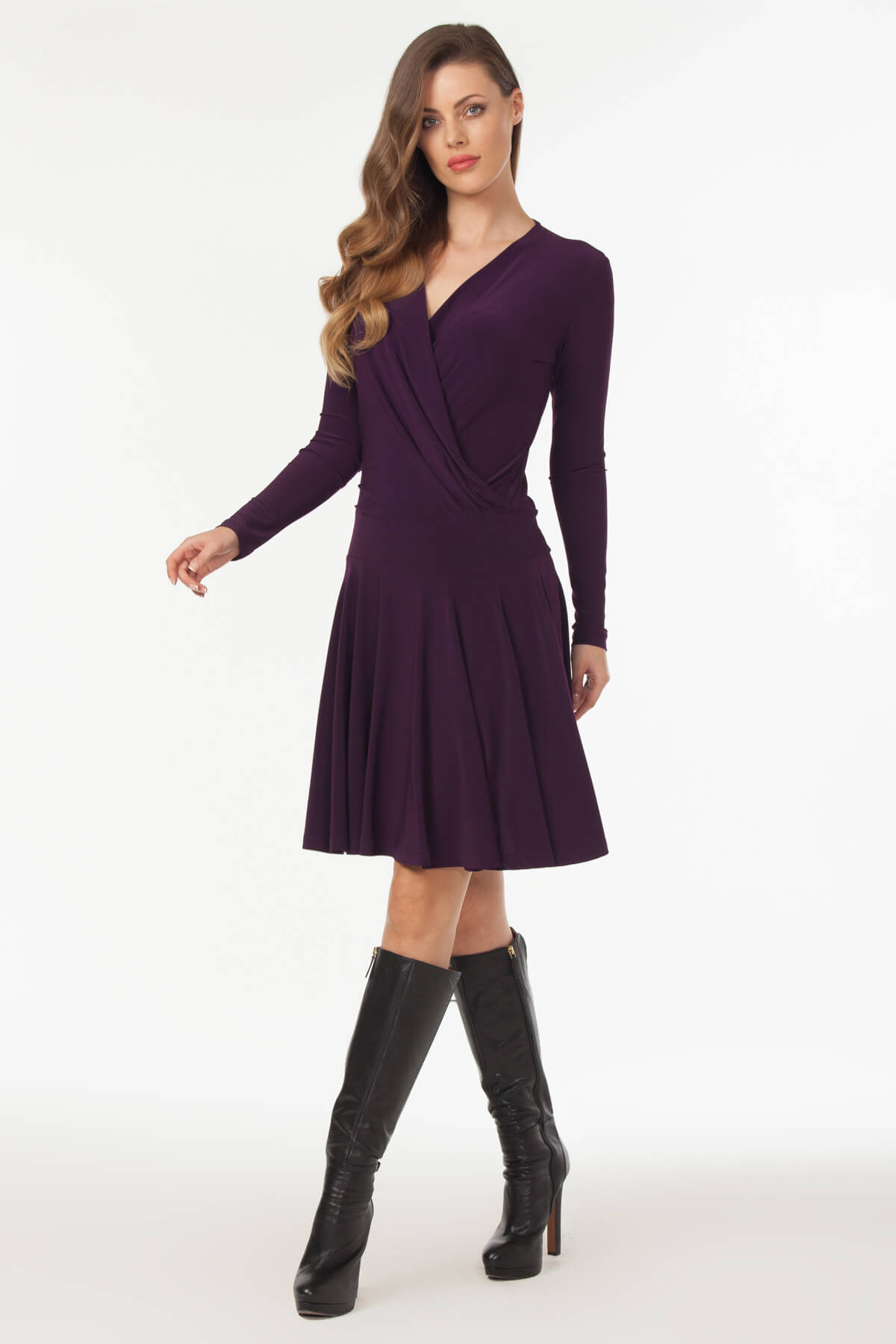 Laranor Kadın Mürdüm Kruvaze Yaka Elbise 19L6440 1