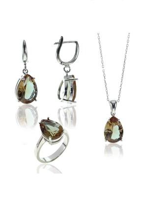Söğütlü Silver Kadın Zultanit (Renk Değiştiren Taşlar) Takı Seti Beyaz-18 SGTL8056