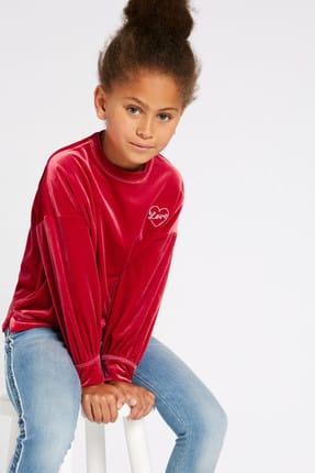 Marks & Spencer Koyu Pembe Kız Çocuk Kadife Sweatshirt