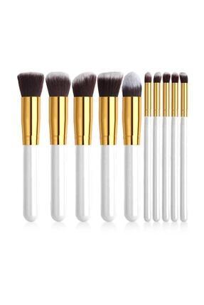 İzla Beyaz Renk Makyaj Fırça Seti  10'lu