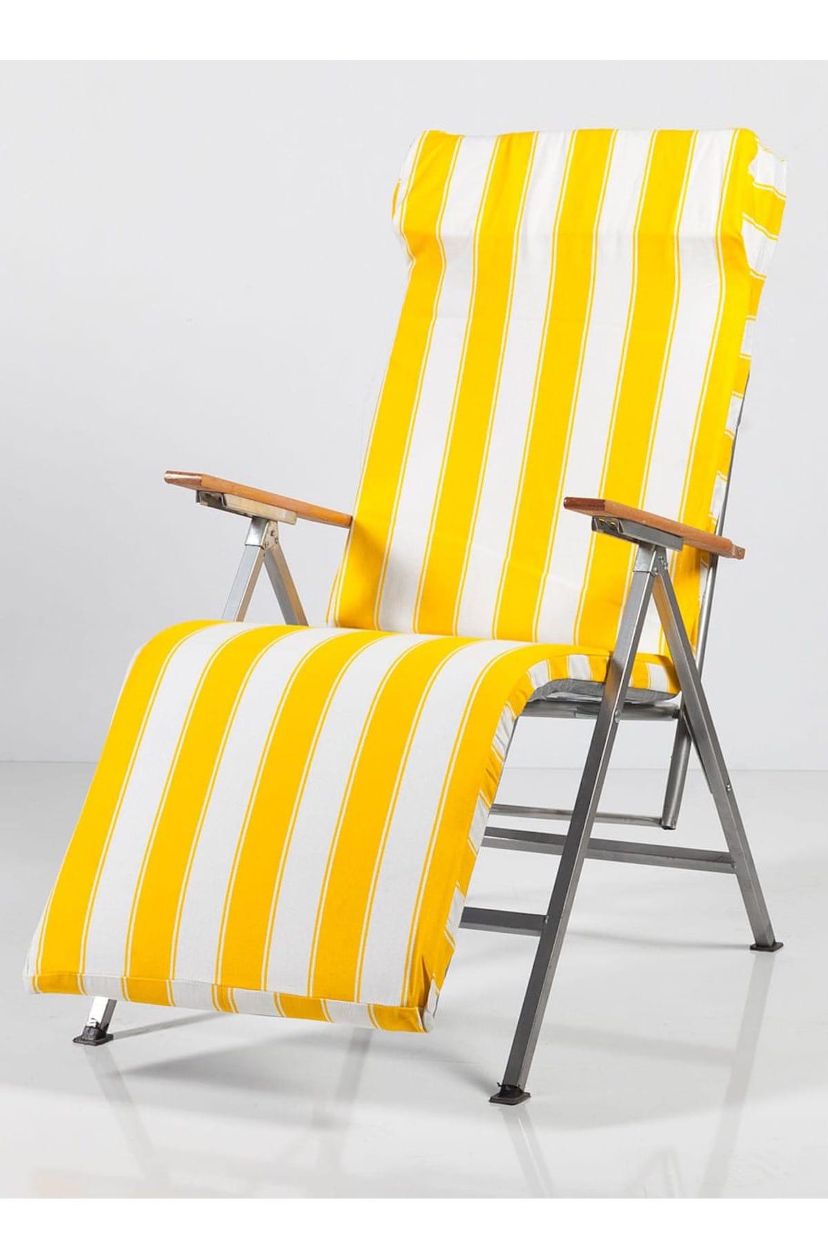 Weblonya Bahce Şezlong Katlanır Sandalye Plaj Koltuğu Minderli 2147 1