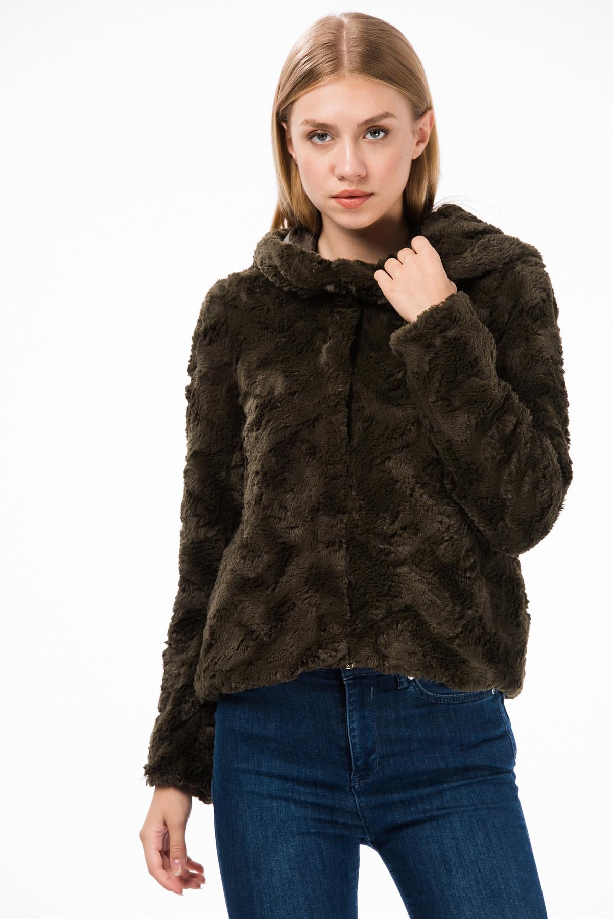 Vero Moda Kadın Haki Kapüşonlu Kısa Suni Kürk 10198760 VMCURL 10198760 1