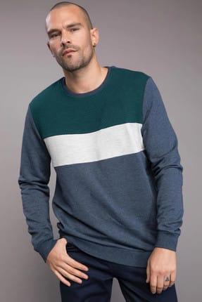 DeFacto Erkek Renk Bloklu Sweatshirt J9763AZ.19SP.NV57