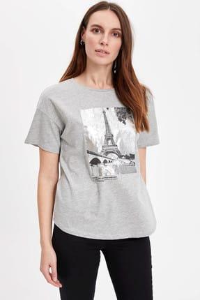 DeFacto Eyfel Kulesi Baskılı Kısa Kollu Tişört
