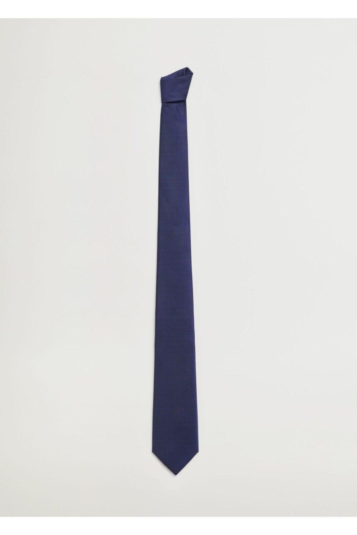 MANGO Man Erkek Lacivert Mini Puantiyeli Kravat 2