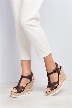 İnci Hakiki Deri Kahverengi Kadın Dolgu Topuk Ayakkabı 120120507014
