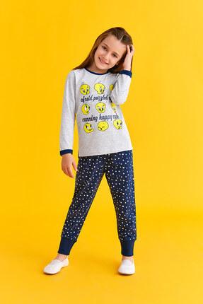 TWEETY Lisanslı Kız Çocuk Pijama Takımı Açık Gri