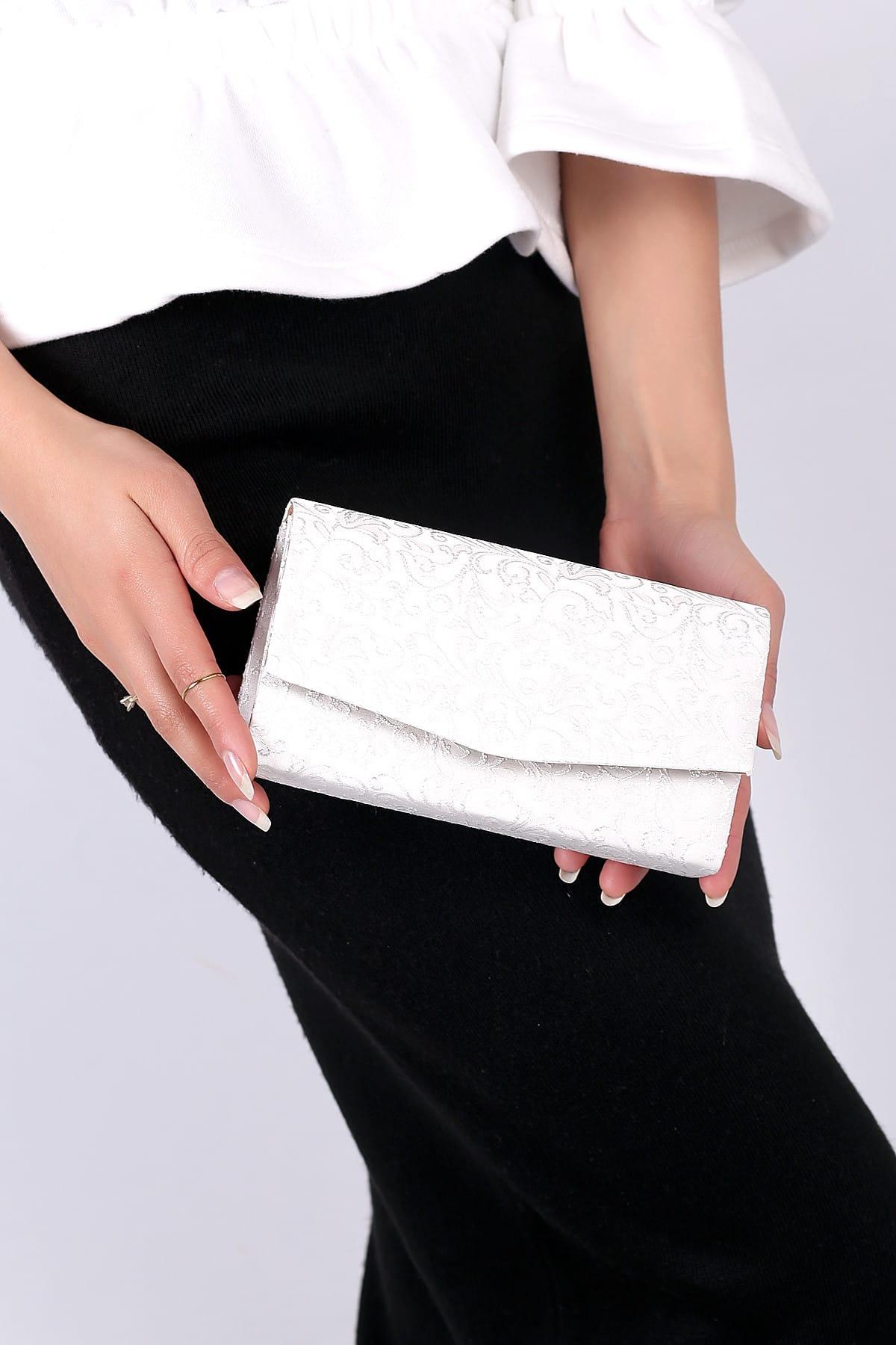 WMİLANO Beyaz Dantel Kadın El Çantası C0201-18 2