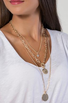 Modex Kadın Altın Sarısı Madalyonlu Üçlü Kolye UK9236