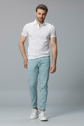 Lufian Erkek Beyaz Muses Klasik Polo Yaka T-Shirt