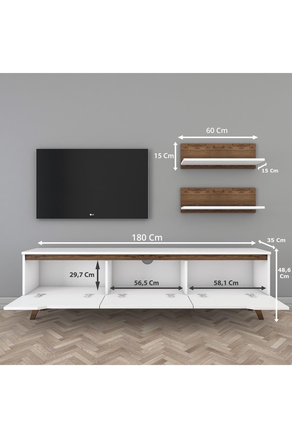 Rani Mobilya Rani D1 Duvar Raflı Kitaplıklı Tv Ünitesi Ahşap Ayaklı Tv Sehpası Beyaz Ceviz M48 2
